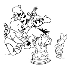 winnie the pooh happy birthday coloring pages - Pooh Coloring Pages