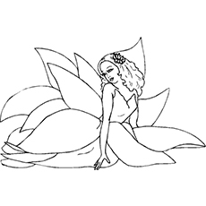 Coloring Page of Beautiful Lotus Fairy