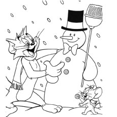 Coloring Pages of Tom and Jerry Making Iceman
