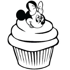 the minnie mouse cupcake - Cupcake Coloring Pages