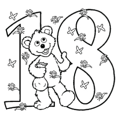 the number 18 baby bear color to pritnt