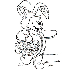 Pooh Celebrates Easter Coloring Page to Print