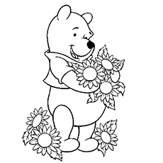 printable coloring pages of pooh loves collecting flowers - Coloring Pages Winnie The Pooh