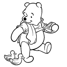 pooh watching the duck and holding a soap in hand coloring page - Pooh Coloring Pages
