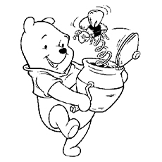 coloring pages of winnie the pooh with honey bee toy - Pooh Bear Coloring Pages Birthday
