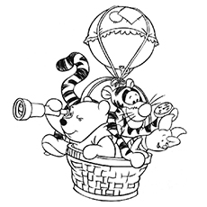 Pooh and Friends on Air Balloon Ride Coloring Sheets