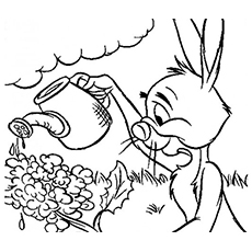 Pooh Friend Rabbit Watering the Plants Coloring Pages