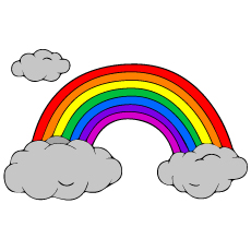 rainbow with clouds coloring page design images - Coloring Page Rainbow Clouds