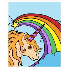 The-Rainbow-and-Unicorn Unicorn Rainbow Coloring Pages