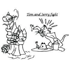 Tom and Jerry Fight Picture to Color