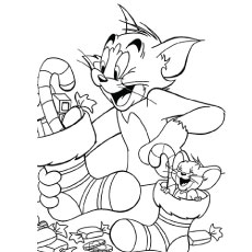 Coloring Sheet of Tom and Jerry with Stocks Printables