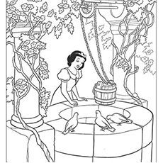 Snow White at the Well Coloring Pages to Print
