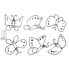 the six little butterflies color - Number Coloring Pages