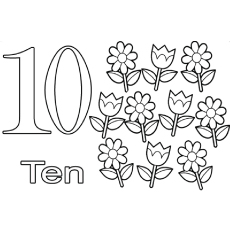 the ten sweet flowers - Number Coloring Pages
