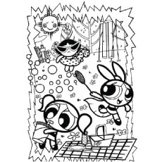 Powerpuffs Girls Enjoying The Party Powerpuff Attacking Monster Coloring Page