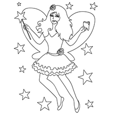 fairy with magic stick in hand coloring pages - Free Fairy Coloring Pages