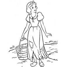 Snow White Carrying a Basket Coloring Pages