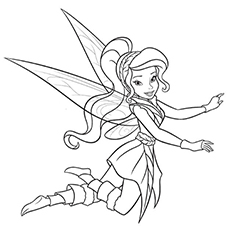 Free Printable Sheet of Vidia Fairy to Color