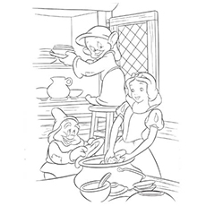 Snow White and Dwarfs Washing the Plates Coloring Pages