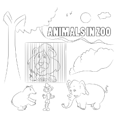 The Zoo Trainer With Animals coloring pages