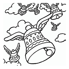 easter bells easter bunny coloring image to print - Easter Printable Coloring Pages
