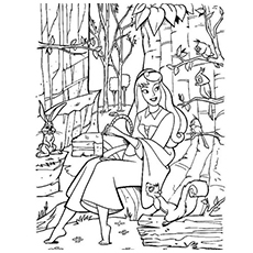 Forest Animals Friends Of Sleeping Beauty Printable To Color