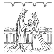 King Stefan and Queen Leah with Baby Sleeping Beauty in Hand Coloring Page