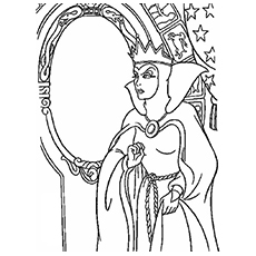 Evil in Front of Magic Mirror Coloring Pages