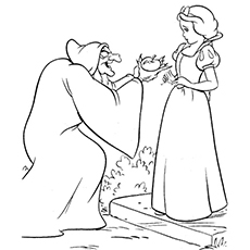 witch giving apple to snow white coloring pages