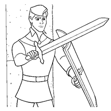 Prince Phillip with Sword in Hand Coloring Page