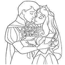 Prince and Princess on Wedding Coloring Page