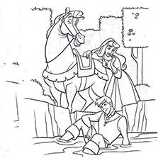 Coloring Page of Samson the Horse in Sleeping Beauty