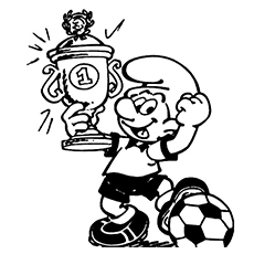 Smurf Won the Trophy in Football Match Coloring Pages