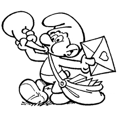 Smurf Postman Announcing Arrival with a Trumpet Coloring Pages