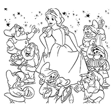snow white and seven dwarfs dancing on music coloring pages