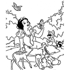 Snow White The Animals Lover having Fun Coloring Pages