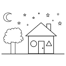 House And Tree In Shapes Coloring Pages Free