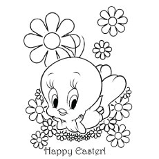 Coloring Sheet of Tweety Bird Celebrating Easter