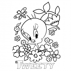 The-tweety-surounded-by-flowers