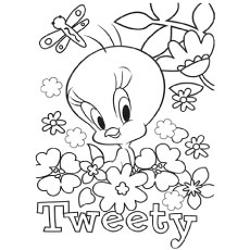 tweety surrounded by flowers tweety with granny coloring pages