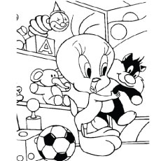 tweety with stuffed sylvester tweety playing with sylvester printable coloring page