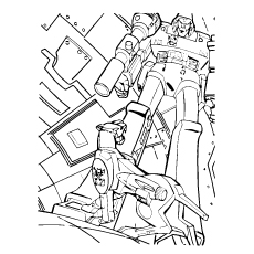Transformer And His Pet At Repairing Coloring Pages