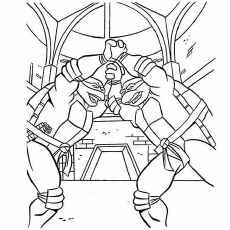 Teenage Mutant Ninja Turtles Brothers Fighting Coloring Pages