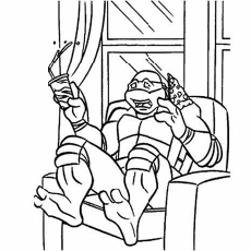 Ninja Turtle Donatello TMNT Loves Pizza Coloring Pages