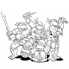 Ninja Group with Weapons Coloring Pages