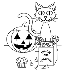 a cute halloween cat1 - Cute Halloween Coloring Pages