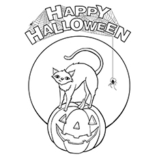 enjoy your halloween - Cute Halloween Cat Coloring Pages