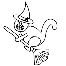 flying cat - Halloween Black Cat Coloring Pages