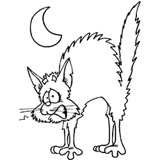 scared cat - Halloween Black Cat Coloring Pages