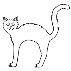 a scary halloween cat1 - Halloween Black Cat Coloring Pages